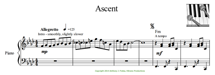 Ascent sheet music Copyright 2014 Frates/Vibrano